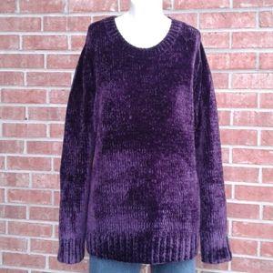 Orvis Purple Plum Chenille Knit Pullover Sweater